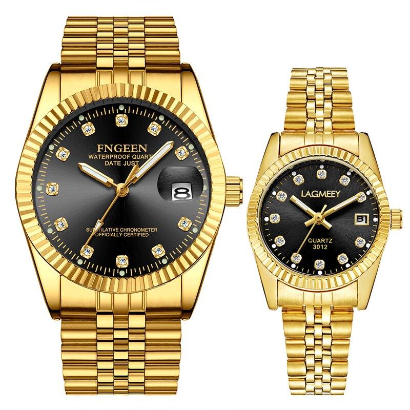 Gold Silver Diamond Dial Couple Watch For Lover Gift Men Watch Women Watches Luxury Steel Waterproof Calendar Couple Bracelet