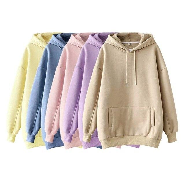 Фото повседневные однотонные теплые пуловеры толстовки свитшоты женская
