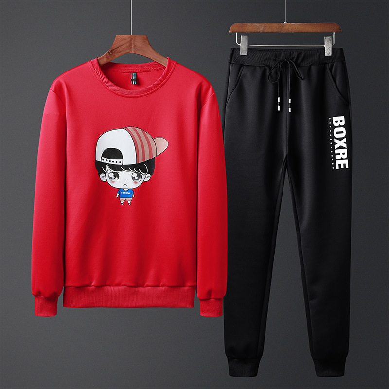 Sports Set Men's Spring And Autumn Hoodie Two-Piece Casual Handsome A Set Of Clothes Young MEN'S Trend Autumn Clothing