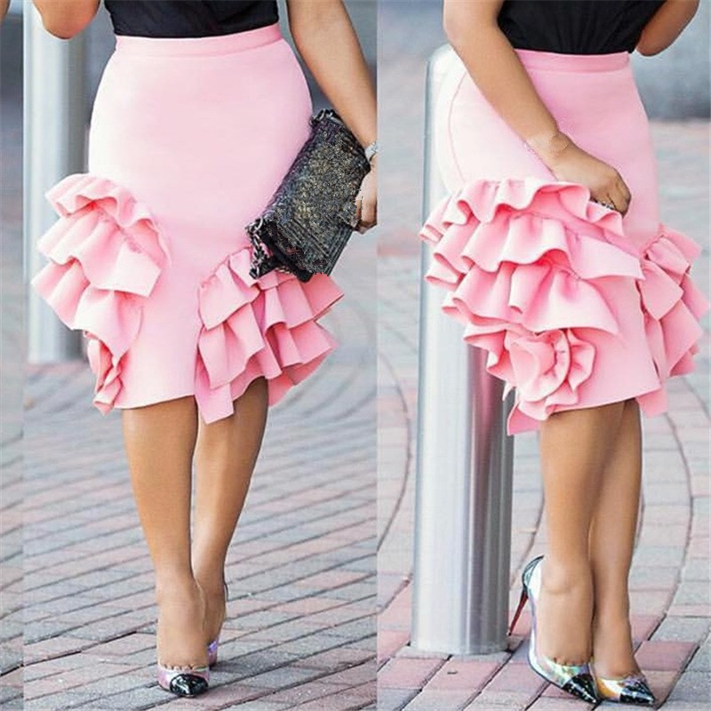 Female Ruffle Pencil Skirt Ruffles Women Package Hip Lolita Slim High Waist Skirt Lady Officewear Elegant Bodycon Skirt