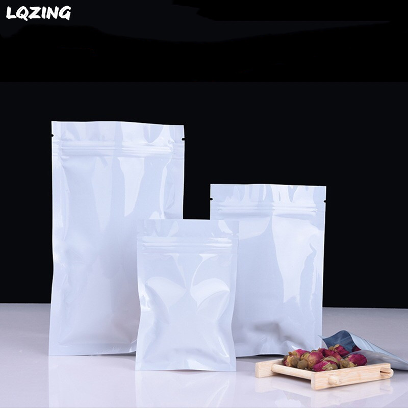 100pcs 16*24cm White Heat Sealable Aluminum Foil Bag Large Size Mylar Zip Lock Plastic Packaging Bags for Food Herb Powder