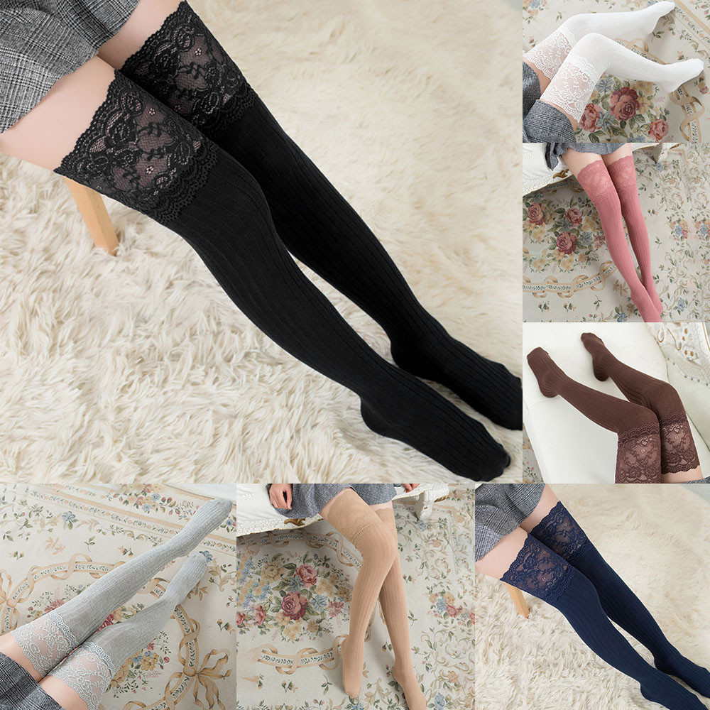 Are You Sure Not To Click In And See? Women Lace Trim Thigh High Over The Knee Socks Long Cotton Warm Stockings 2020 Hot Sale