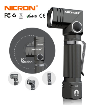 NICRON Led Flashlight Handfree Dual Fuel 90 Degree Twist Rotary Clip 600LM Waterproof Magnet Mini Lighting LED Torch Outdoor N7