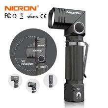 NICRON linterna Led con giro giratorio de 90 grados para exterior, Mini linterna LED con giro de 600LM, con imán a prueba de agua, con combustible Dual, manos libres, N7