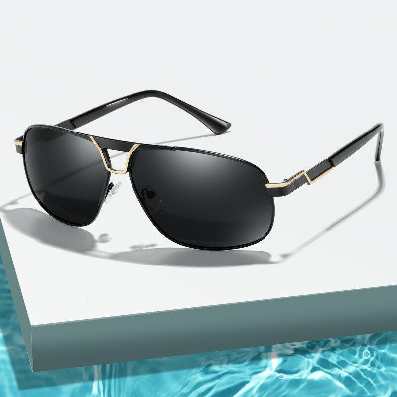 Homem óculos de sol polarizados marca homem metal quadrado condução óculos de sol masculino uv400 óculos de sol