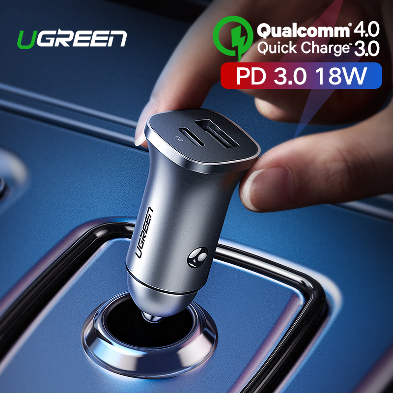 Ugreen Quick Charge 4.0 3.0 QC USB Car Charger for Xiaomi QC4.0 QC3.0 18W Type C PD Car Charging for iPhone 11 X Xs 8 PD Charger-in Car Chargers from Cellphones & Telecommunications
