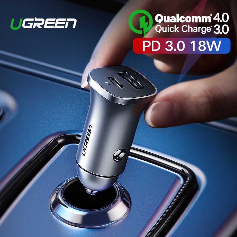 Ugreen Quick Charge 4,0 de 3,0 QC USB cargador de coche para Xiaomi QC4.0 QC3.0 18W tipo C de carga de coche para iPhone 11 X Xs X 8 de cargador