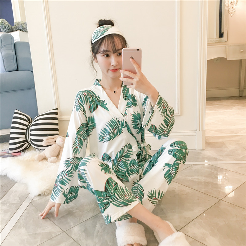 Women's Sleepwear Women's Autumn Long Sleeve Japanese-style Kimono Sweet Cute Sisters Outfit Korean-style Fresh Students in the