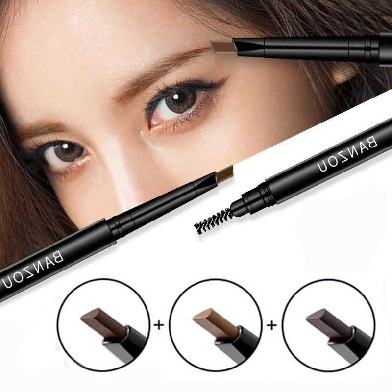 0.1USD Cabeças Dobro Sweat-proof Natural Lápis de sobrancelha Lápis de Sobrancelha Impermeável com Escova de Sobrancelha de Longa Duração Matiz TSLM2