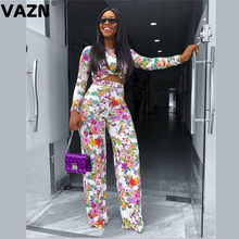 VAZN New product 2020 summer sexy lady white print 2-piece long set full sleeve O-neck short tees long straight pant chic sets(China)
