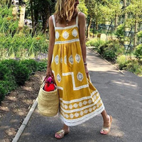 Cover Up Beach Woman Swimsuits Sexy Dresses Swimwear Dress Plus Size New Summer Print Suspender Bohemia Loose Polyester