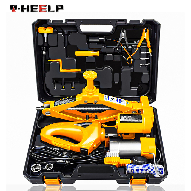 E-HEELP 12V 3 in 1 Car Electric Jack Lifting Set Built-in Flash LED Light with Impact Wrench & Air pump Car Jacks A02 1