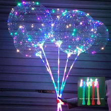 Flashing Lamps Balloon LED With Stick Transparent Balloons Birthday Party Kids Toy Wedding Decorations 3rd Light LED Balloon(China)