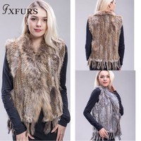 FXFURS 2019 genuine rabbit fur vest knitted fur waistcoat colorful rabbit raccoon fur sweater vest 16 Colors