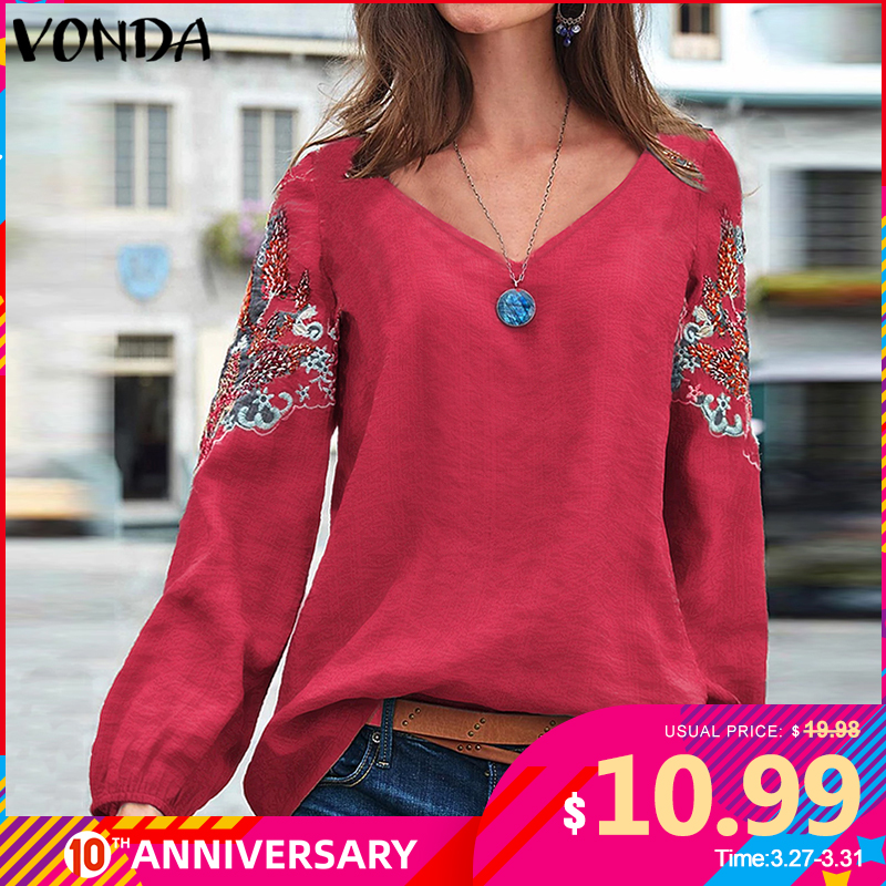 VONDA Embroidered Blouse Women Cotton Vintage Office Shirts Beach Printed Tops Bohemian Plus Size Tunic 2020 Casual Loose Blusas