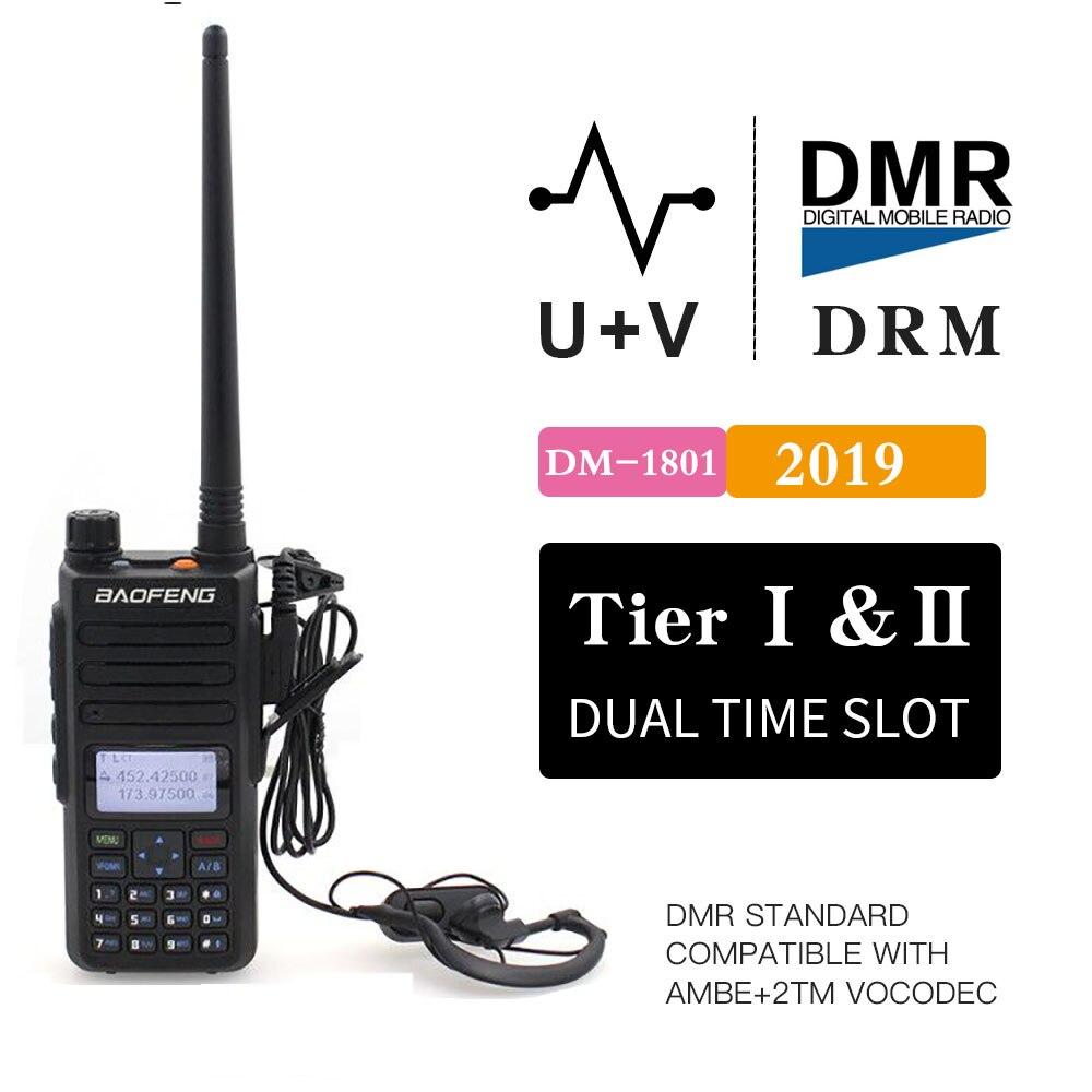 2019 Baofeng DM-1801 Digital Walkie Talkie DMR Tier II Dual Time Slot Tier2 Tier1 DMR Digital / Analog DM-860 Ham Protable Radio