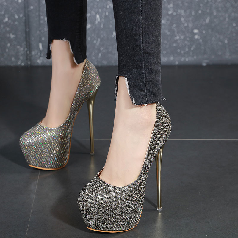 Women Pumps Bling Personality Sexy 16 Cm High Heel Temperament High-heeled Shoes Round Toe Pumps Women Heels