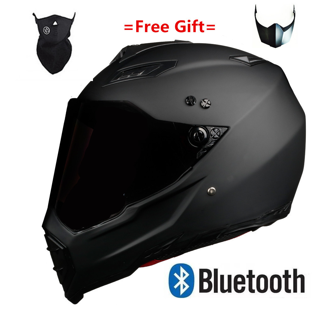 Motor Motorcycle Hat Full Face Helmet With Lens Safety Helmet DOT Helmet Phone Call Music Bluetooth Moto Helmet  S  Matte Black