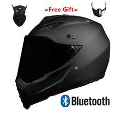 motor motorcycle hat Full Face helmet with lens safety helmet DOT helmet phone call music bluetooth Moto helmet  S  matte black мото шлем icon alliance dark helmet matte
