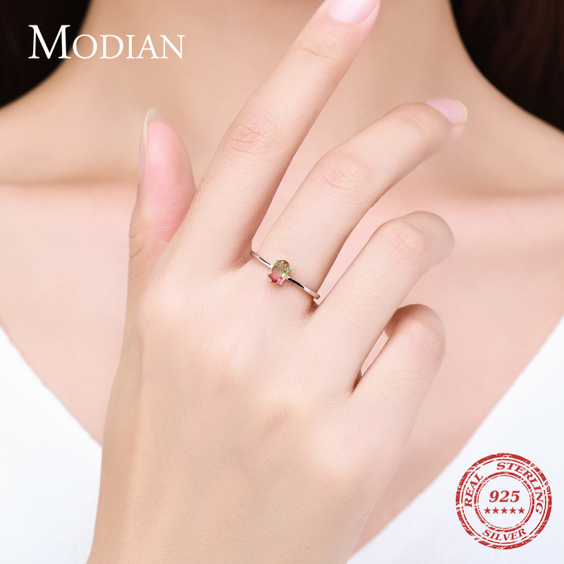 Modian 925 en argent Sterling coloré pastèque Tourmaline anneaux pour les femmes mode bande de doigt Fine bijoux Style coréen Anel 2