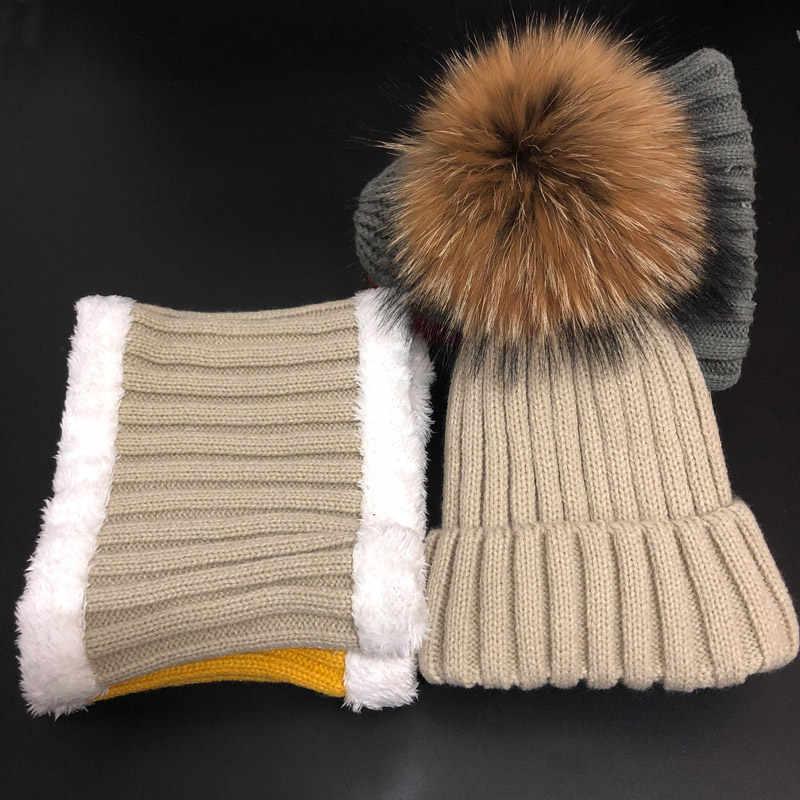2019 crianças chapéus de inverno Skullies gorros chapéu Feito Malha do miúdo menino Fahion meninas Verdadeira pele de Guaxinim chapéus pompom definir crianças chapéus cachecol