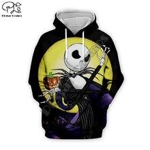 Jack Skelling Moon print Men 3d Hoodies skull Pumpkin Christmas Halloween Corpse Bride women Sweatshirt tshirt zipper pullover