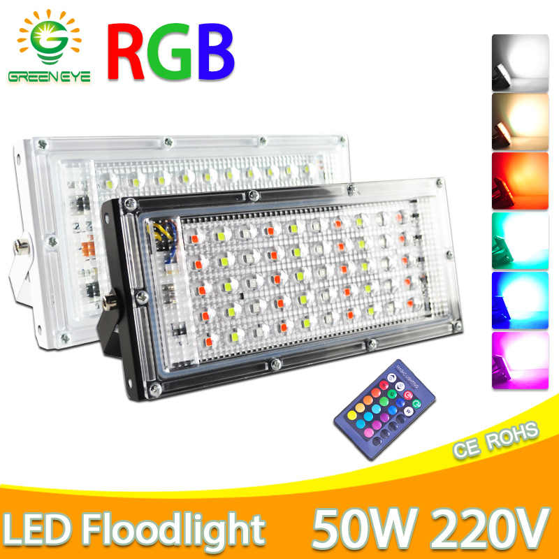 Lampu Sorot LED 50W 100W 200W RGB LED Floodlight AC 220V 240V LED Lampu Jalan tahan Air IP65 Lampu Outdoor LED COB