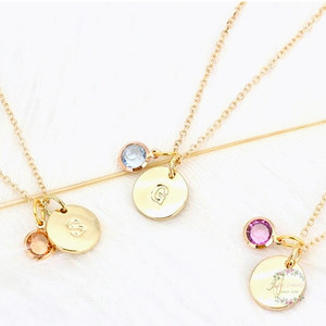 1PC Gold Birthstone Letter Necklace With 12 Colors Birthday Stone Alloy Personalized Alphabet Name Letter Necklace For Women