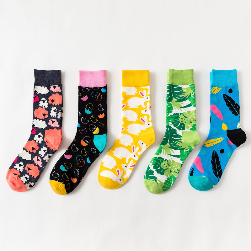 Colorful Funny Socks Women Rabbit Sheep Feather Leaf Pattern Calcetines Mujer Easter Egg Series Personality Socks Meias 19122402