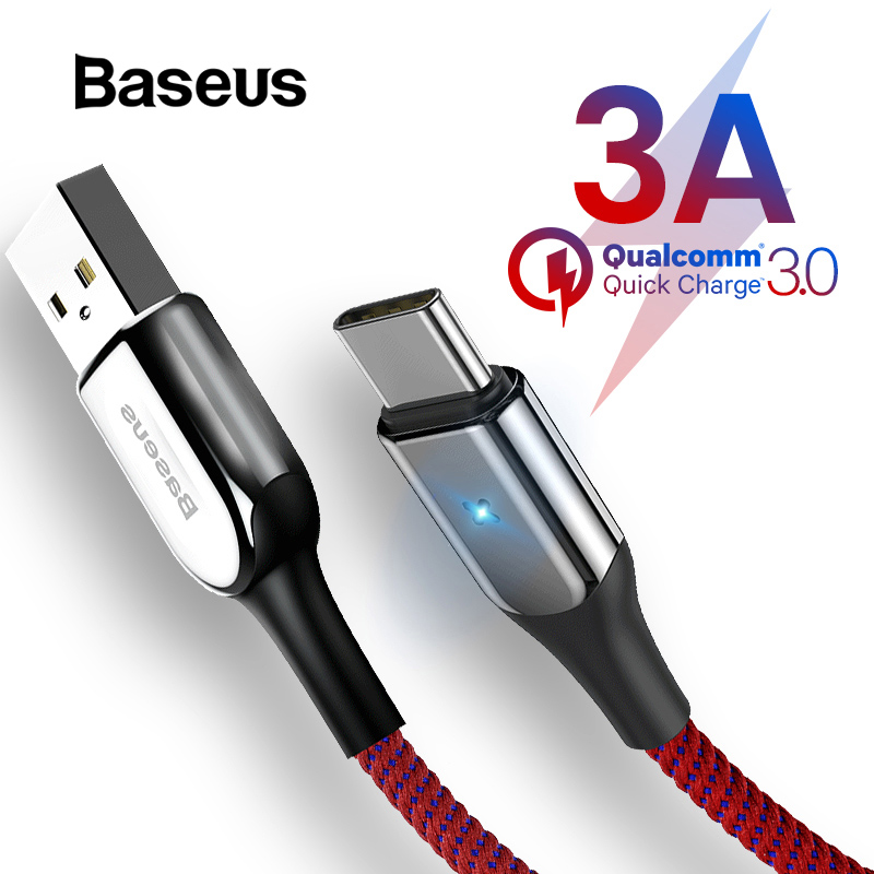 Baseus USB Type C Cable For Samsung Galaxy S9 S8 Plus Quick Charge 3.0 Charging Cable For Xiaomi USB C Type C Cable-in Mobile Phone Cables from Cellphones & Telecommunications on AliExpress