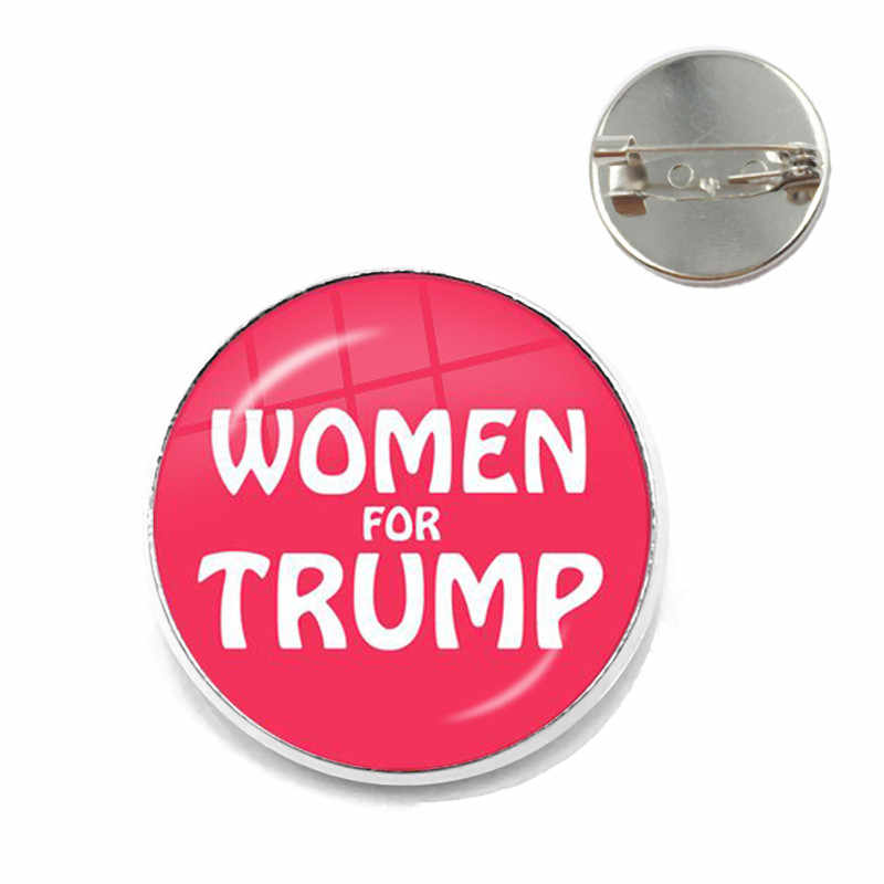 Women For Trump 2020 American USA Election Glass Cabochon Brooch 3D Print Fashion Collar Pins Jewelry For Women Men Kids Gift