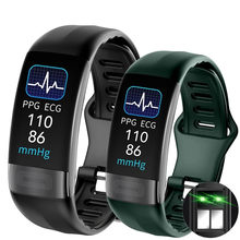 Смарт-часы ECG PPG P11 Plus с измерением температуры тела, пульса, артериального давления, кислорода, водонепроницаемый спортивный фитнес-браслет ...