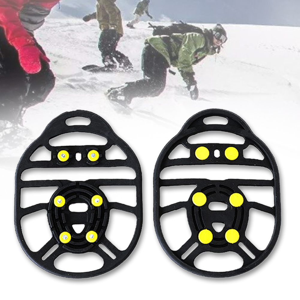 1 Pair Hiking Crampon Winter Outdoor 6 Stud Climbing Universal Ice Gripper Unisex Shoe Spikes Anti Slip Stretch Fit Traction