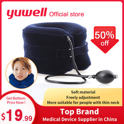 Yuwell c tipo pescoço tração terapia cervical vértebra suporta colar ortopedia cuidados de saúde massageador inflável cinta médica