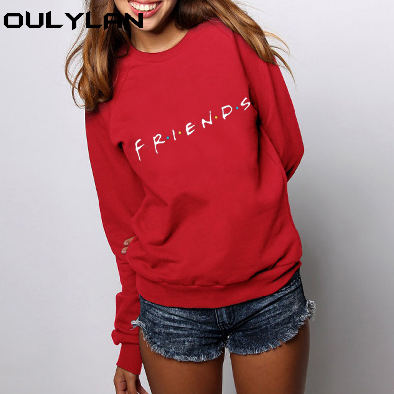 Oulylan Women Letters FRIENDS Print Long Sleeve Sweatshirt Ladies Pullover Autumn Tops Plus Size S M L XL XXL