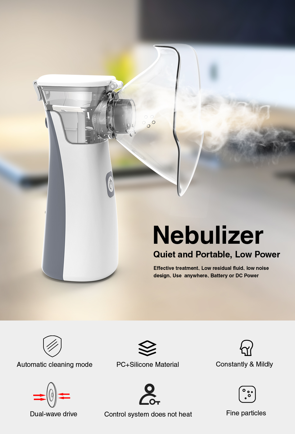 BGMMED Medical Nebulizer Machine with Automatic Cleaning Mode for Prevention of Viral Infection 6