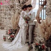 Кружевное Свадебное платье русалки с широким рукавом, богемные Свадебные платья ZW291 с большим листом