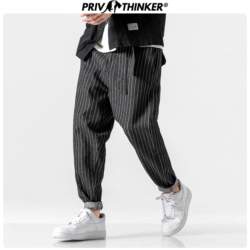Privathinker Men's 2019 Streetwear Loose Denim Pants Men Autumn Winter Striped Oversize Harem Pants Male Fashion Pockets Jeans