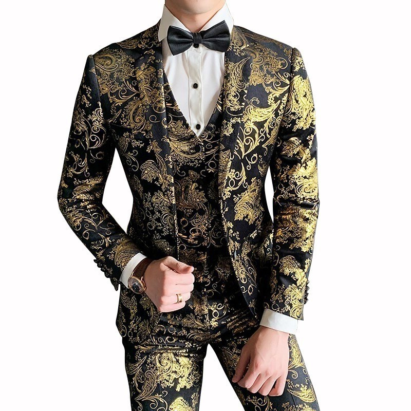 Gold For Luxury Baroque Velvet Slim Fit Costume Mariage Homme 2020 Floral Print Prom Suit Men