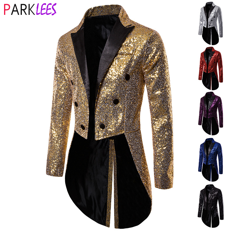 Shiny Gold Sequins Glitter Tailcoat Suit Jacket Male Double Breasted Wedding Groom Tuxedo Blazer Men Party Stage Prom Costume