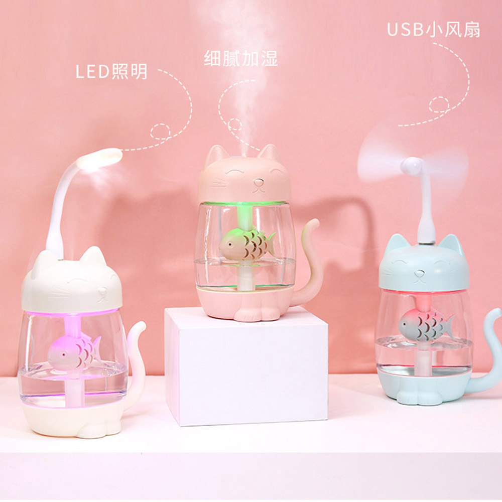 350ml USB Electric Aroma Diffuser Air Humidifier Essential Oil Aromatherapy Cool Mist Maker For Home Car Mini Fan Night Light