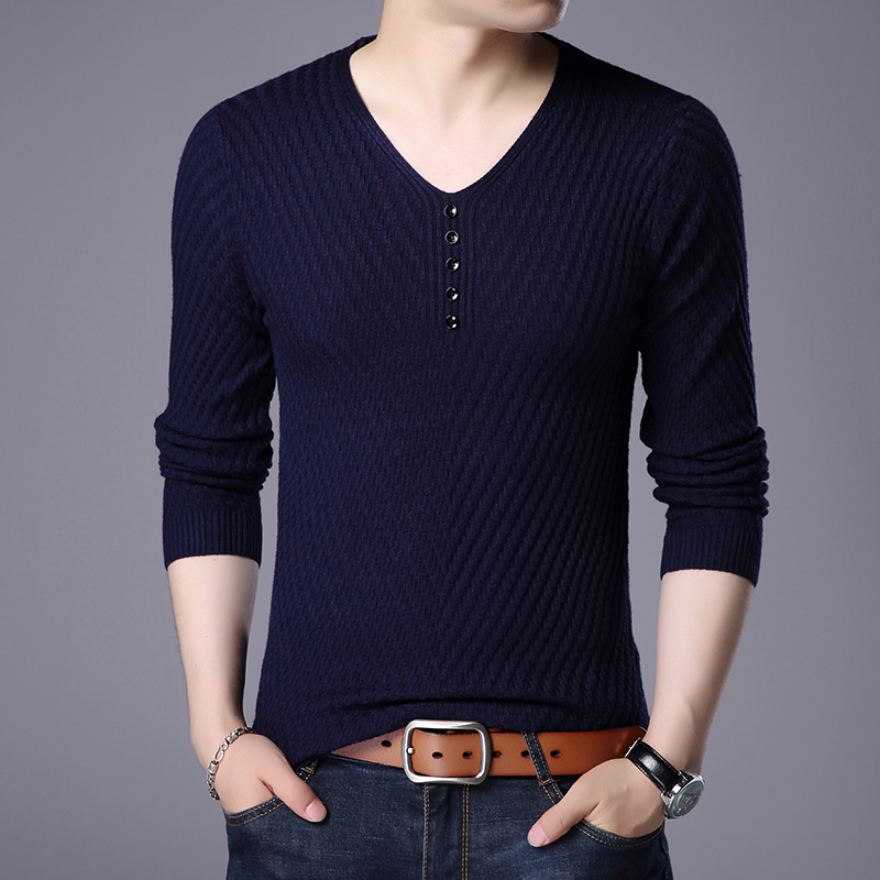 Spring Autumn Mens Fashion Button V-Neck Sweater Casual Male Long Sleeve Basic Knit Sweater Free Shipping