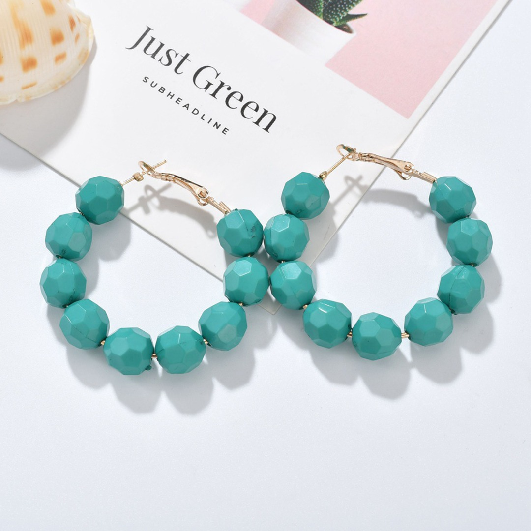 New Handmade Beads Hoop Earring oorbellen Multicolor Bead Round Circle Earring for Women Statement Jewelry Party Gift