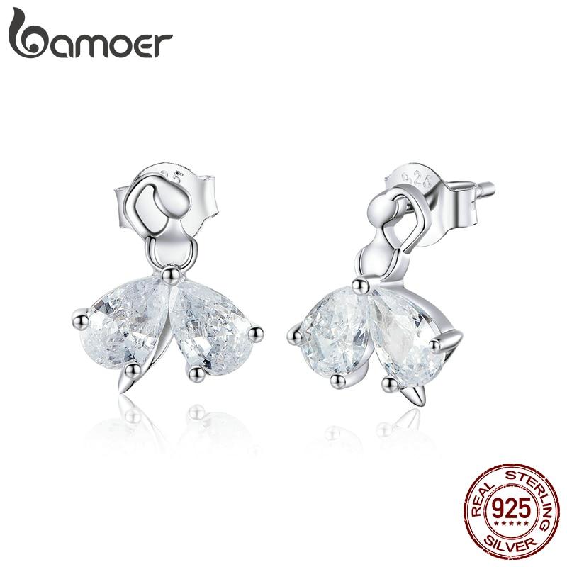 Bamoer 925 Sterling Silver Dazzling Clear CZ Ballet Dancer Stud Earrings For Women Wedding Engagement Jewelry Bijoux New SCE838