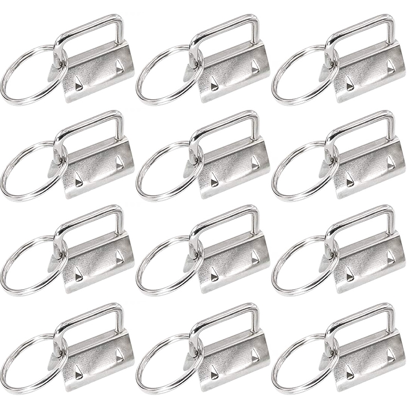 45Pcs Silver 1 Inch Key Fob Hardware with Key Rings Sets, Perfect for Bag Wristlets with Fabric/Ribb