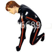 Male Latex Rubber Catsuit Bodysuit with Side Strips Socks attached