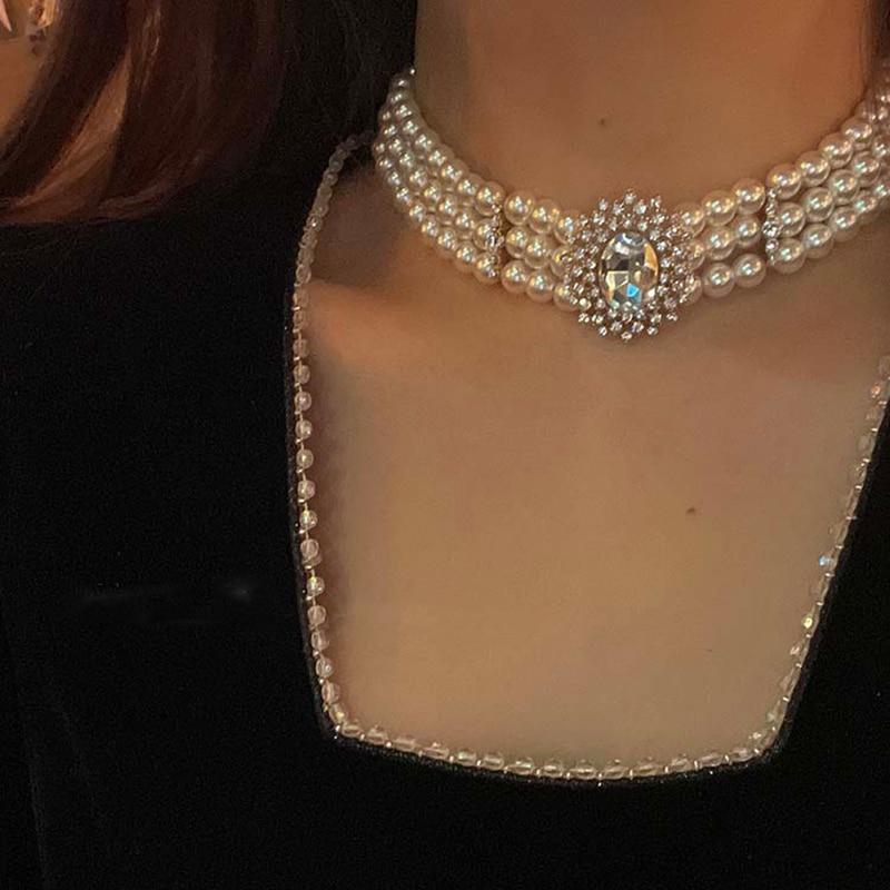 Женское колье с жемчугом MENGJIQIAO, винтажное короткое ожерелье в дворцовом стиле с кристаллами, вечерние нее Ювелирное Украшение, 3 слоя