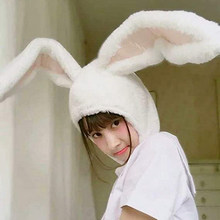 Chapeau à oreilles de lapin pour filles, cadeau de noël, Costume de fête amusant, couvre-chef, accessoires Photo plus chauds, casquette d'hiver pour femmes