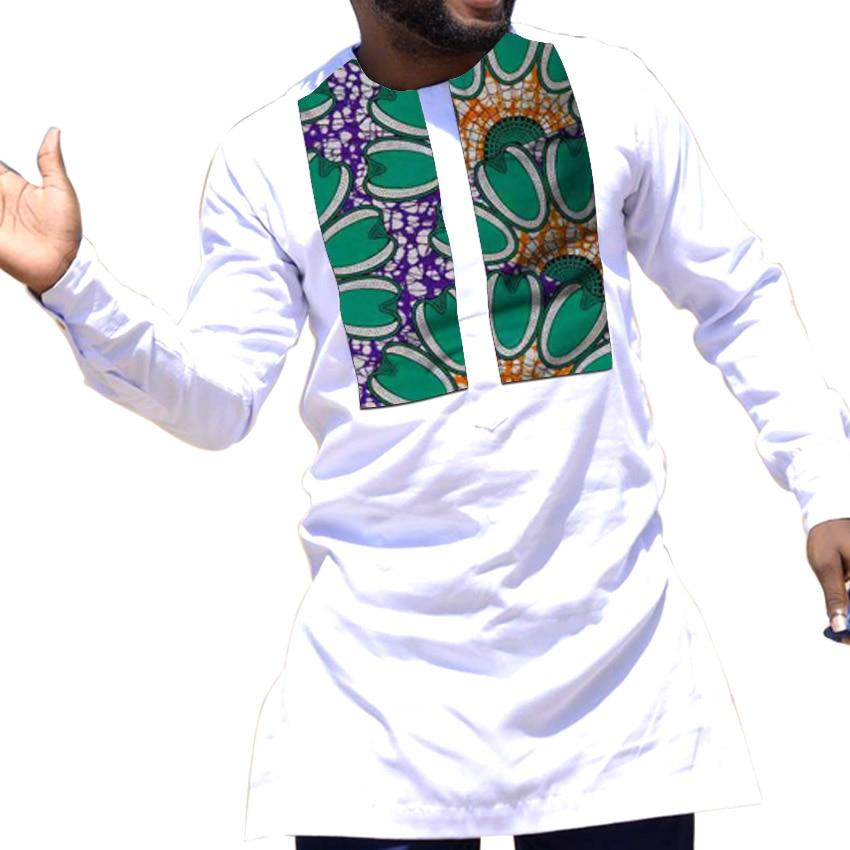African Clothing Men's Ankara Shirt Long Sleeve Tops For Man Dashiki White Shirts Custom Made Groom African Clothes