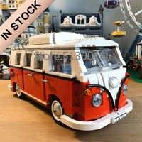 Em estoque 21001 21002 21003 criador t1 camper rv carro de viagem 1354 peças modelo blocos de construção brinquedos moc 10220 10242 10252 10569